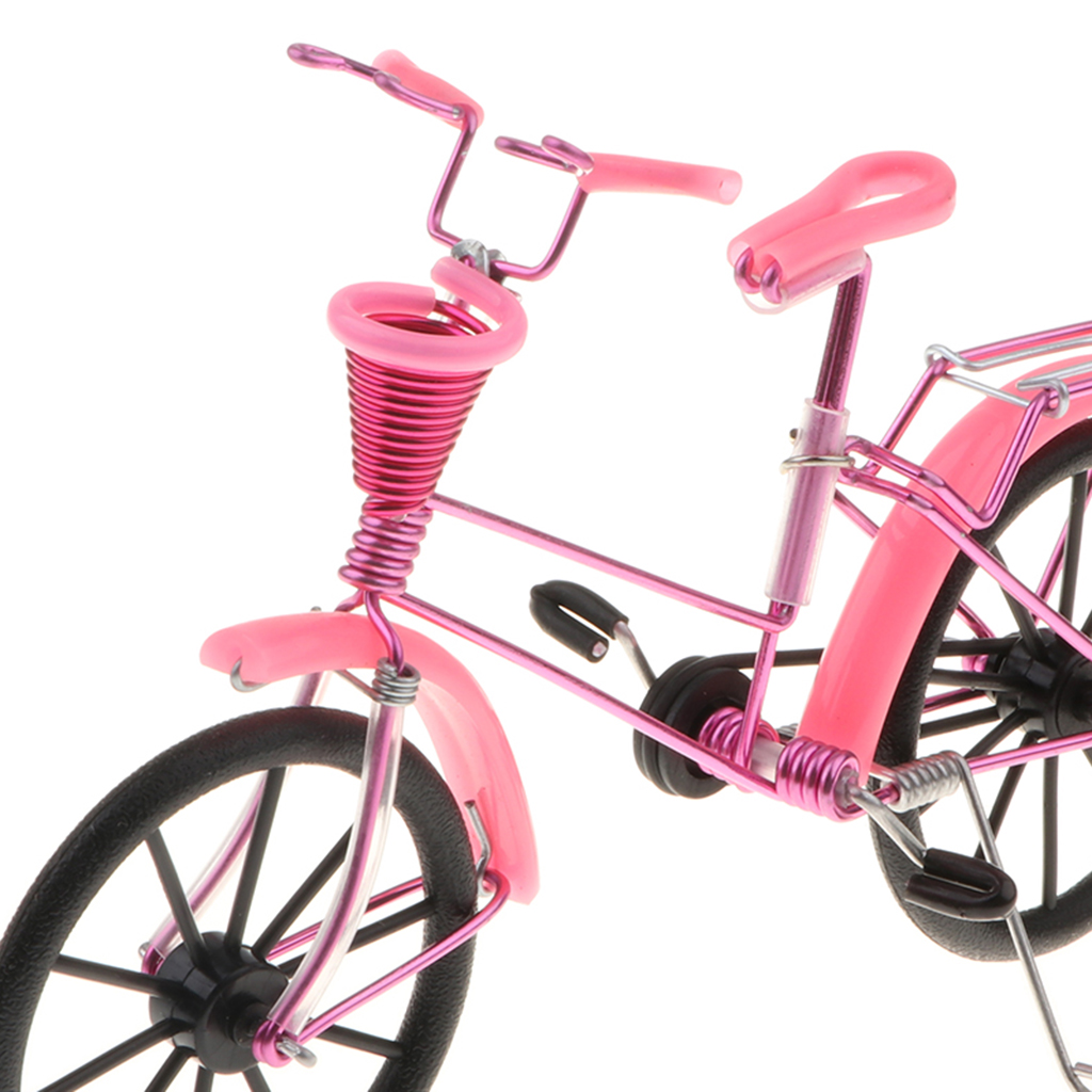 1:10 Aluminum Bike Model Bicycle with Basket Handicraft Toy Pink