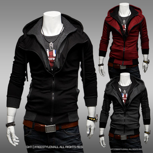 New 2015 Men's Casual Varsity Jackets Men Sportswear Mens Faux Two Piece Outerwear Slim Fit With A Hood Jacket Thin Cardigan(China (Mainland))