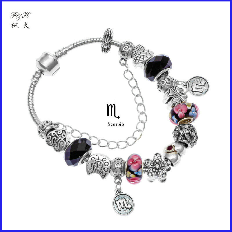 New Arrival Novelty birthday gift 12 zodiac signs Scorpio charm bracelet handmade 925 Silver bead jewelry fit pandora bracelet(China (Mainland))