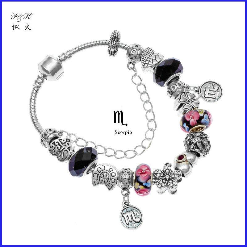 New Arrival Novelty birthday gift 12 zodiac signs Scorpio charm bracelet handmade 925 Silver bead jewelry fit pandora bracelet(China (Mainland))