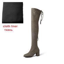 WETKISS Big Size de Laars Nieuwste Model Lady rits Stretch Stof Lange bootss Dikke Hoge Hak Vrouw Schoenen Winter(China)