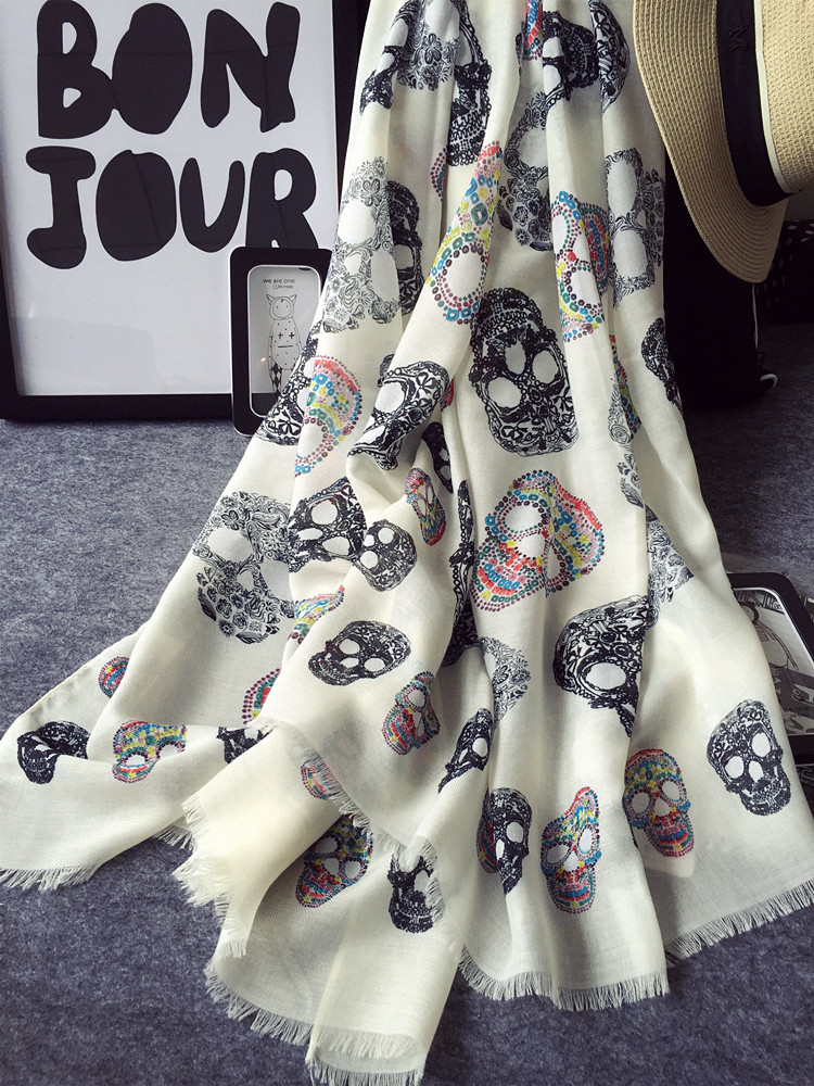 2016 Brand New High Quality Women Winter Scarves Printing Colorful Skull Scarf Shawl Laides Cotton Blend Oversized Blanket Scarf(China (Mainland))