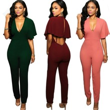 2016 Women Summer Zipper Jumpsuits Combinaison Femme Sexy V-Neck Clothes Club Vintage Ladies Sleeveless Overalls