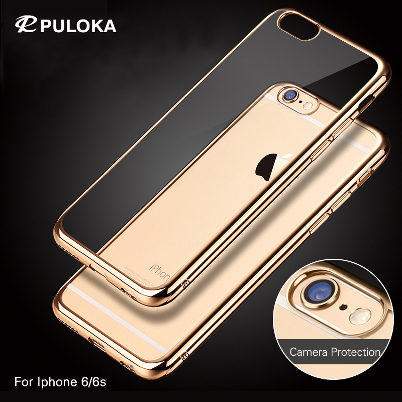 PULOKA Eletroplate Transparent TPU Case For iPhone 6 iPhone 6s High Quality Gold Plated Ultrathin Anti-shock Phone Back Cover(China (Mainland))