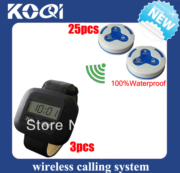 Wireless calling bell restaurant of 3 wireless pager + 25 table transmitter 100% waterproof DHL free shipping free(China (Mainland))