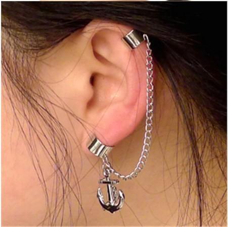Punk Women Long Chain Tassels Without Pierced Ears Cuff Clip Earrings,Cool Sterling Silver Anchor Earrings,Non Pierced Earrings(China (Mainland))
