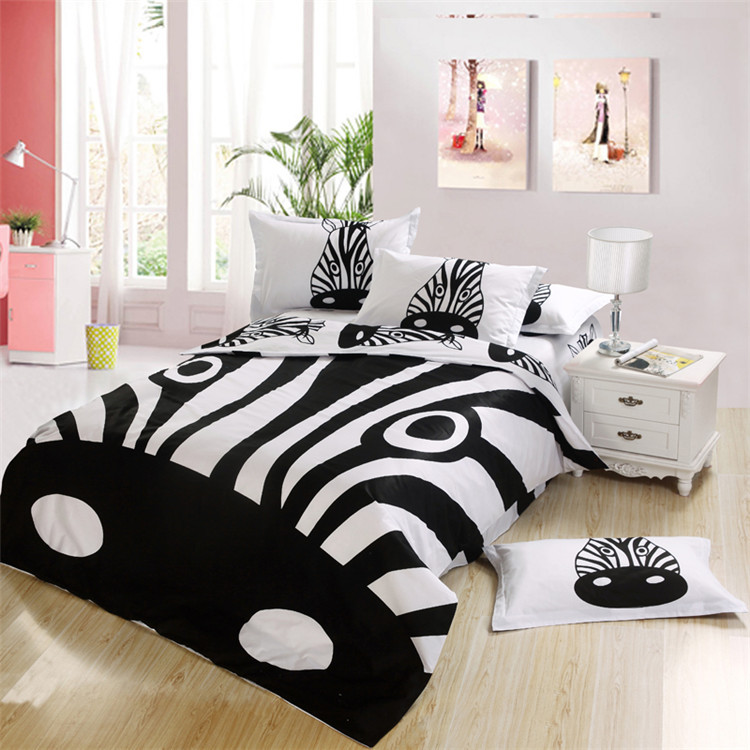boys bedding animal print zebra 4/5 pcs full queen size 100% cotton comforter set duvet cover bedspread quilted pillow shams(China (Mainland))