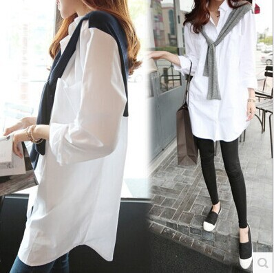 Fashion Women Clothing Shirt Loose Casual Leave Two Wild Shawl White Female Long Sleeve Tops - Online Store 923589 store