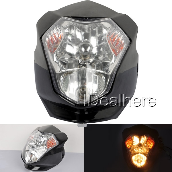Free Shipping Universal Fairing Headlight for Motorcycle Streetfighter Enduro Alien GSX ZX(China (Mainland))