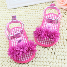 Baby Girl Floral Summer Sandals Crib Soft Sole Non-slip Princess Shoes 0-18M(China (Mainland))
