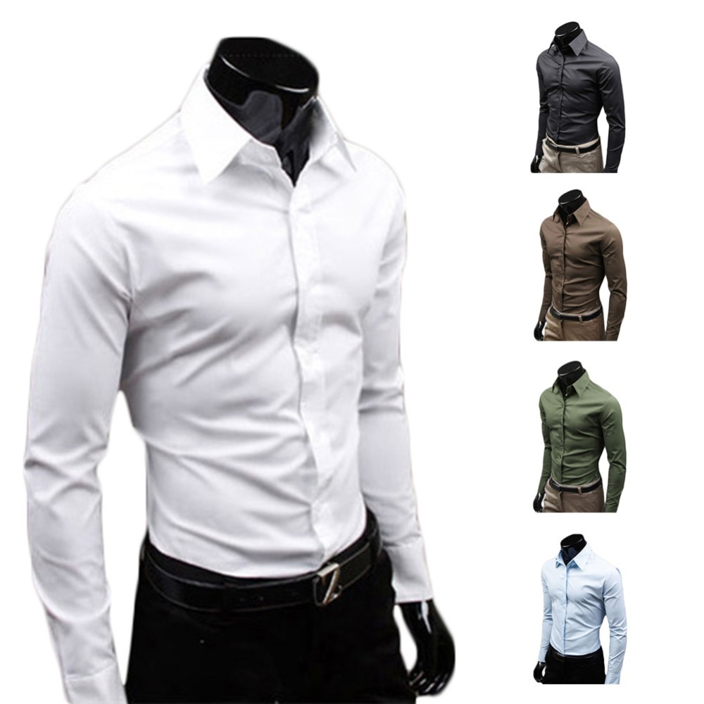 Men Luxury Casual Slim Fit Stylish Long Sleeve Dress