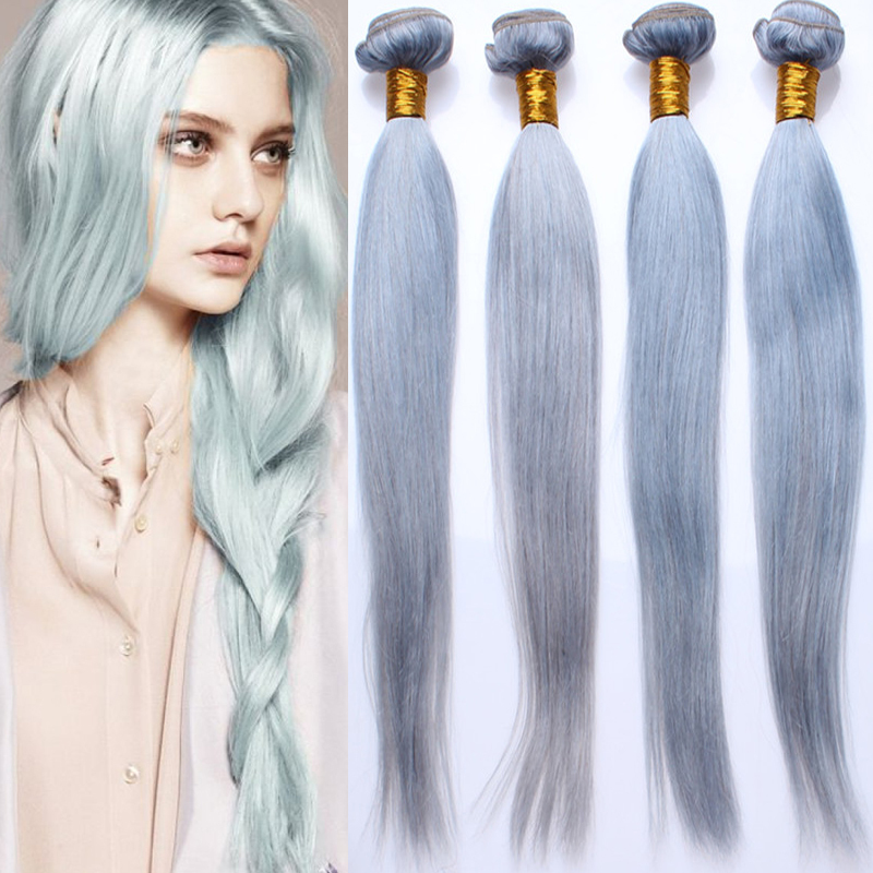 Ombre Hair Extensions Silver Grey Human Hair Weave Bundles Colorful Malaysian Virgin Hair Ombre Straight Wave Rosa Hair Products(China (Mainland))
