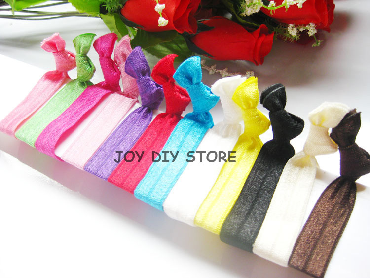 100pcs/lot 1.5x9.5CM Assorted 12colors Fold Over Elastic Hair Ties for girl ponytail holder Hair Accessories,YLB01(China (Mainland))