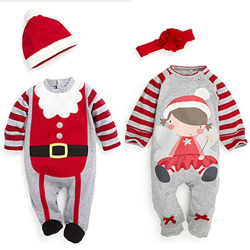 Baby rompers 2016 Christmas One-piece Costumes kids long sleeve spring autumn baby wear clothing set top+headband or hat(China (Mainland))