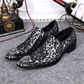 New Autumn Winter Mens Genuine Leather Shoes Leopard Print Italian Formal Men s Dress Shoes Party