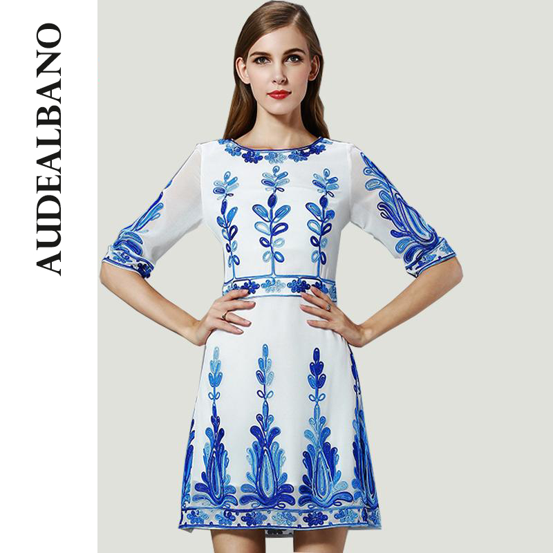 audealbano high end retro vintage printed fit dress summer