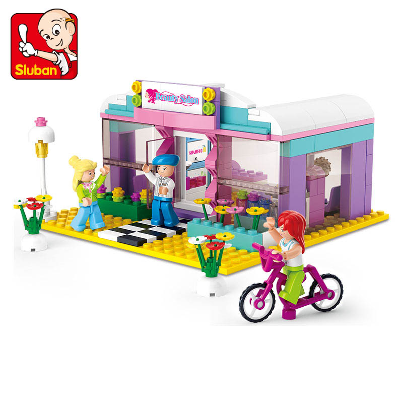 Sluban 243pcs Building Blocks Toys Girl Dream Series Hair Color Image Store Is Minifigure Children's Gift Compatible With Legoe(China (Mainland))