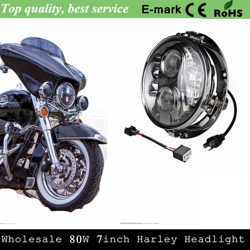 "Emark 7"" BLACK Chrome 80W CREE LED Harley Motorcycle HID Projector Headlight + 7"" Headlight Mount Bracket Ring For Harley Motor(China (Mainland))"