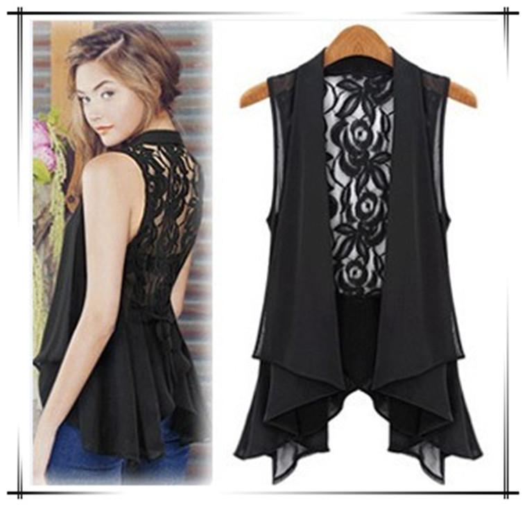2015 latest fashion Big yards chiffon vest in the long chiffon lace vest vest coat(China (Mainland))