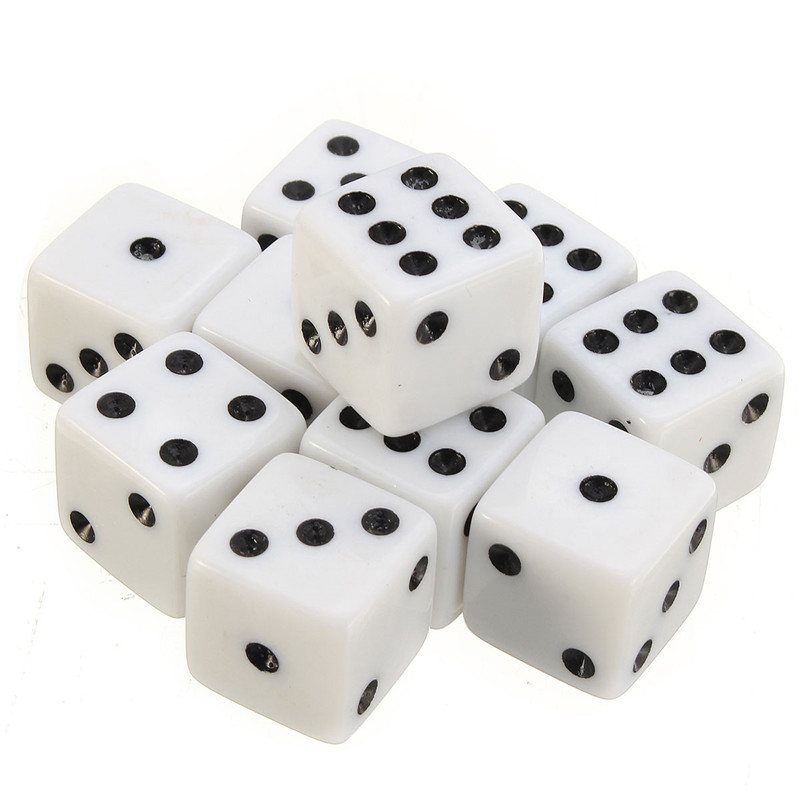 Best Promotion 10PCS Plastic White 16mm Gaming Dice Standard Six Sided Decider Die RPG For Birthday Parties Toy Bauble(China (Mainland))