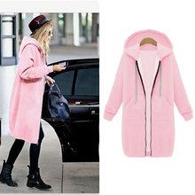 Новинка, большие размеры, женское длинное пальто, Осень-зима 2019, на молнии, с капюшоном, куртка, Повседневная ветровка, женский, черный, серый,...(China)