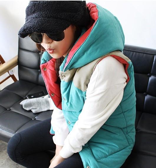 Korea New!2014 Vest Women's autumn winter thickening kaross outerwear patchwork vest clip cotton hood - Super-Mom store