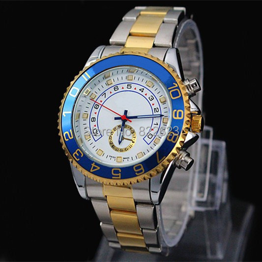 Fahion Man Watch Auto Date High Quality Gold with Silver Stainless steel Band Male Quartz watches Man Wristwatch(China (Mainland))