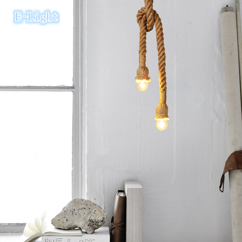 Diy Vintage Rope Pendant Light Lamp Loft Personality