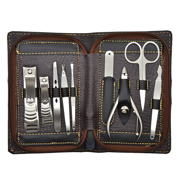Portable Manicure Pedicure Set Nail Care Personal Tool Kit Clipper Pusher Scissors Trimmer 9Pcs(China (Mainland))