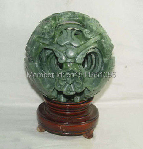100mm Splendiferous Chinese jade flower magic Puzzle Ball + Stand(China (Mainland))