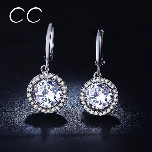 Круглый ааа серьги с бриллиантами мода ювелирных изделий для женщин cc серьги с австрийским brincos MSE021