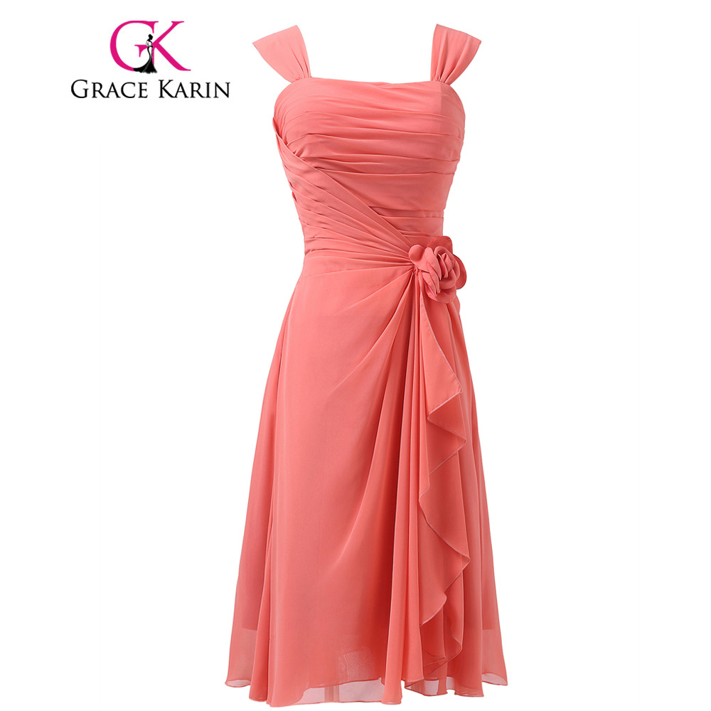 Real Samples Pretty Knee Length Short Watermelon Red Prom Dresses Wide Shoulder Straps Chiffon Cocktail Party Dress Flower L6215(China (Mainland))