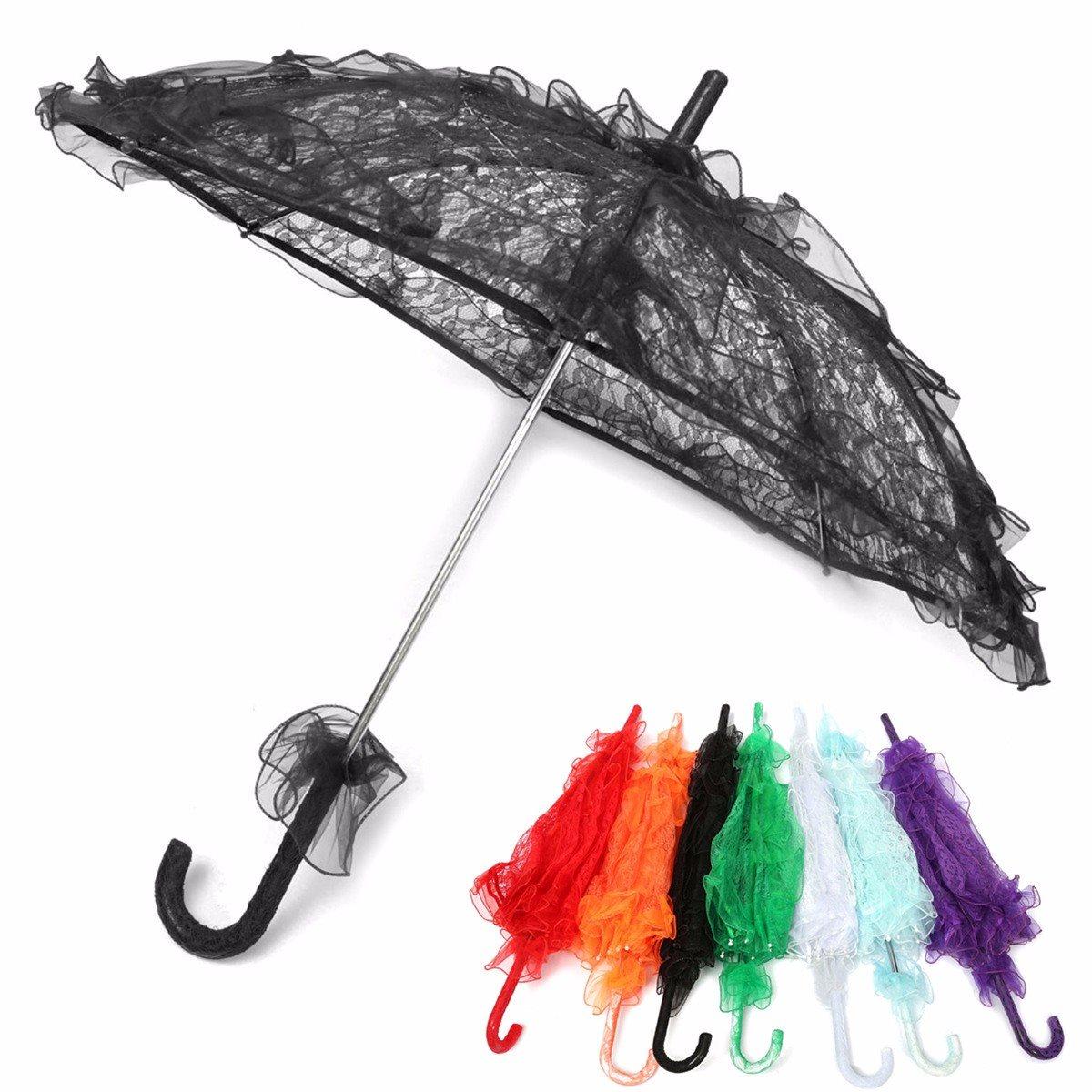 Casamento Nupcial Parasol Umbrella Multicolor Bordado Rendas de Algodão Decoração Fontes do Partido Photo Booth Prop(China (Mainland))