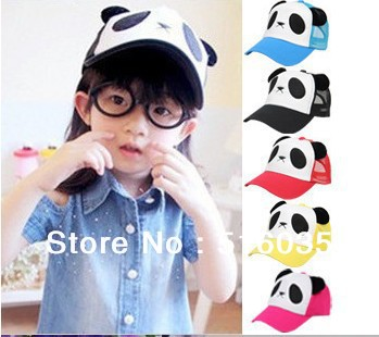 Free shipping children baseball cap kids snapback hats Panda design baby hat children hat for summer(China (Mainland))