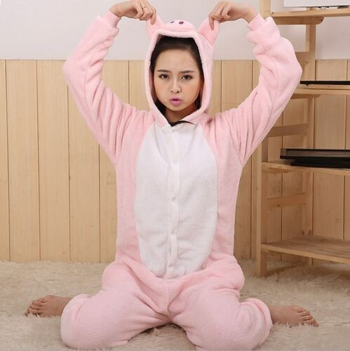 Free Shipping Hot New Pajamas Pets Costume unisex Adult Onesie Dress Pink Pig S/M/L/XL(China (Mainland))