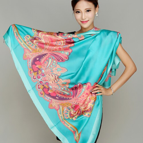 Brand Fashion Silk Print Scarf Vintage Square Shawls Scarves Women Chinese Style Bandana Luxury Cape  -  Shenzhen Sundah Tech Co., Ltd.(Craft & Gift Dept. store)