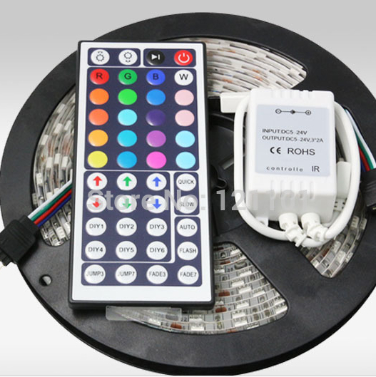 RGB LED Strip 5050 5M 300LEDs SMD Nonwaterproof Tape+ 44Key IR Remote Controller RGB Led Strip Light Free Shipping(China (Mainland))