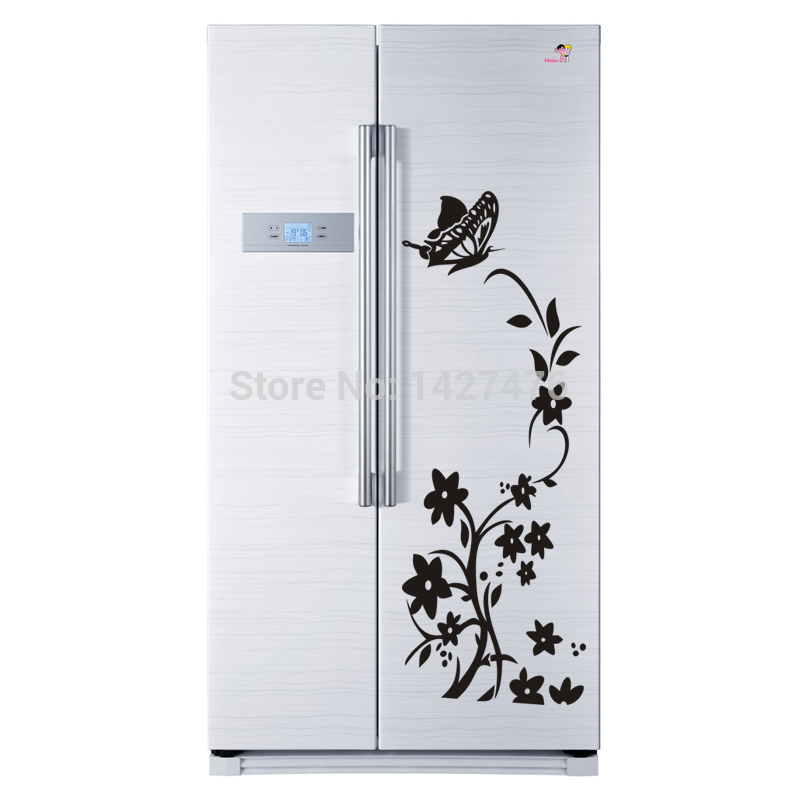 Winding flower vine with Butterfly on top of the fridge sticker Decorative waterproofing fridge decoration free shipping *(China (Mainland))