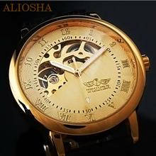 Aliosha ganador Color marrón de la marca de la mitad del esqueleto reloj 3 Color descuento del reloj de Mens reloj viento de la mano mecánica