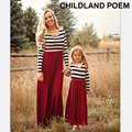 2016 autumn spring family matching clothes cotton stripe maxi Mother daughter dress clothes Family Matching Outfits