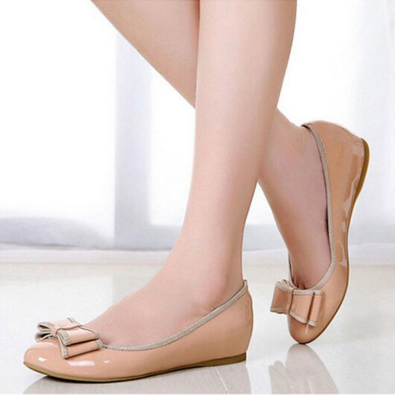 Fashion Sweet Style Elegant Women's Single Shoes Round Toe Comfortable Women Flats Female Bowknot Metal Flat - LOVE IS TRUE store
