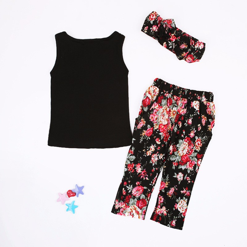 Summer style Girls Fashion floral casual suit children clothing set sleeveless outfit +headband 2016 summer new kids clothes set