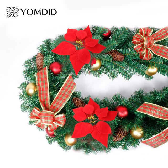 Livraison gratuite Rouge De Noël fleur De Noël décoration fleurs artificielles enfeites de natal belle de