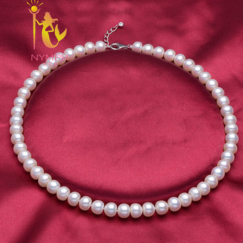 NYMPH Natural freshwater pearl necklace jewelry ,9-10 mm pearl Chokers Necklaces best gift for women F001