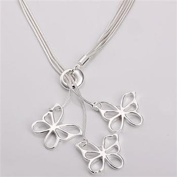 Free shipping 925 silver jewelry necklace Tai Chi hanging three butterfly neck fashion jewelry necklace wholesale