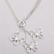 Free shipping,925 silver jewelry necklace ,Tai Chi hanging three butterfly neck. fashion jewelry necklace .wholesale price! L108