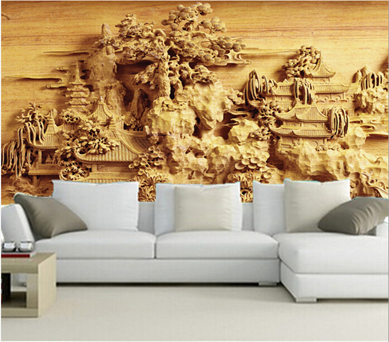 The latest 3d wallpaper 3d chinese ancient garden for Latest wallpaper for living room