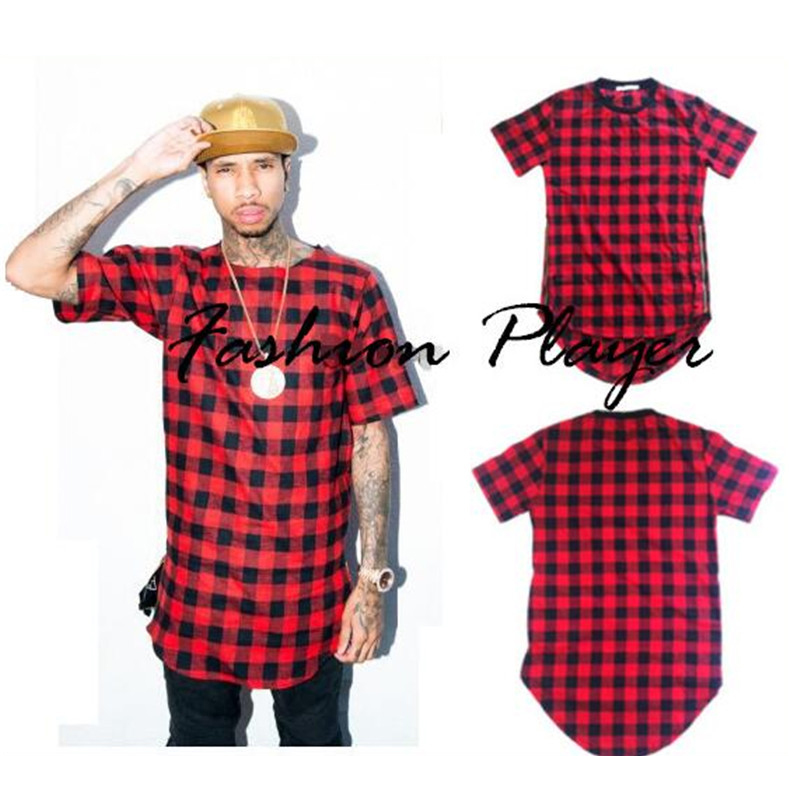 mens hip hop streetwear tops side zippers plaid swag
