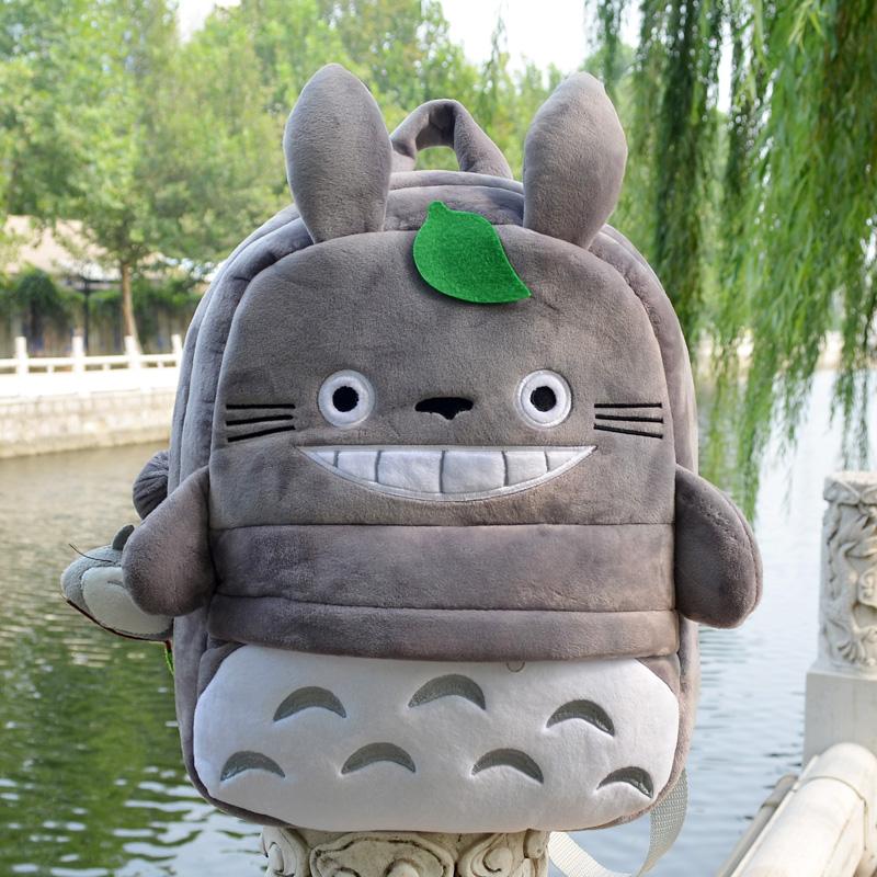 Super funny 1pc 35cm cartoon anime totoro cute lucky plush backpacks school outdoor bag kids children kindergarten baby toy gift(China (Mainland))