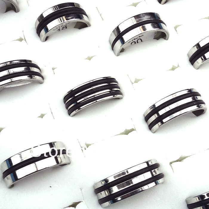 1Silver Stainless Steel Fashion Mix Style Black Rubber Women Mens Rings Jewelry Lots A-192 - Edna store